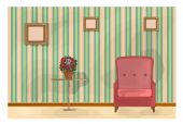 Vintage Living Room Illustration — 图库矢量图片