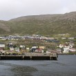 City and harbor in rainy cloudy day, Honningsvag, Nordkapp municipality, Norway — Stock Photo #51895133