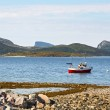 Beautiful landscape in Norway - lonely fishers' boat and mountains background — Stock Photo #59045699