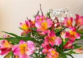 Flowers bouquet pink alstroemeria arrange for decoration in home, selective focus — Stock Photo