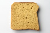 Whole Wheat Brown Bread Slice On White Background. — Stock Photo