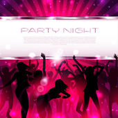 Music Background with silhouettes of dancing girls  - Vector — Stock Vector