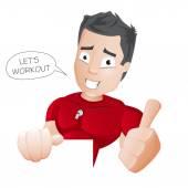 Cartoon Fitness Coach - vector — Stock Vector