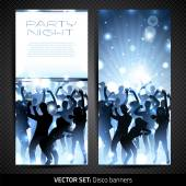 Banner set with silhouettes of dancing people — Stock Vector
