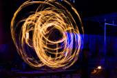 Fire dancing Show at night — Stock Photo