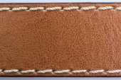 Brown Leather with thread sewed texture background — Foto de Stock
