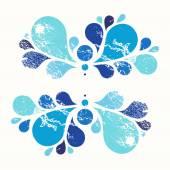 Blå blommig vektorelement, tårdroppe, grunge design — Stockvektor