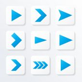 Set of blue arrows, web icon, vector illustration — Stock Vector