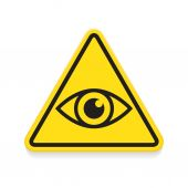 Symbol of eye, warning sign, yellow triangle — Stock Vector