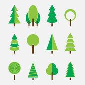 Ensemble de différents arbres, design simple moderne — Vecteur