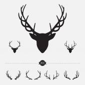 Deer head silhouette with antlers, vector illustration — Stock Vector