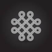 Poskręcane linie, element wektora, splecione, wzór, na białym tle obiekt — Wektor stockowy