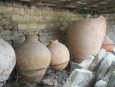 Amphorae, ancient pots, excavations — Stock Photo