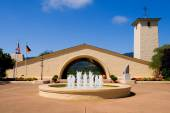 Vineyard with fountain in front — Stock Photo