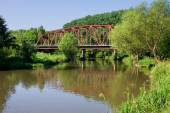 Metal bridge in sunny day — Φωτογραφία Αρχείου