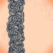 Abstract lace ribbon seamless pattern with elements flowers. — Stock Vector