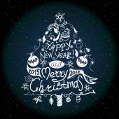 Natal e ano novo etiqueta o efeito de giz — Vetor de Stock