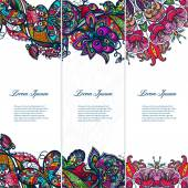 Color lace floral set of banners — Stock Vector