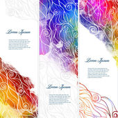 Banners with waves and splash watercolors — Wektor stockowy
