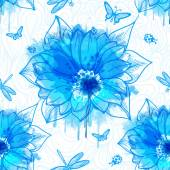 Wallpaper of flowers with blue watercolor elements — Stock Vector