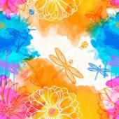 Watercolors of flowers, butterflies, birds, dragonflies and beetles. — Stock Vector