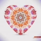 Motifs de dentelle aquarelle forme de coeur. — Vecteur