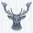 Постер, плакат: Sign of deer head with ornament