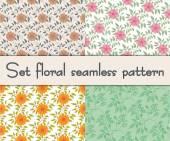 Set floral seamless pattern. Vector illustration background. — Stock Vector