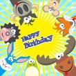 Cute happy birthday card with funny animals. Elk, cow, hedgehog, — Stock Vector #71417283