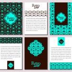 Set of brochures in retro style. Vector brochure, booklet cover — Stock Vector #76669927