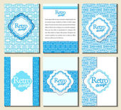 Set of brochures in retro style. Vector brochure, booklet cover — Stock Vector