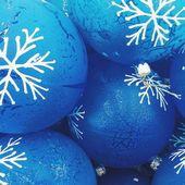 Blue Christmas toys background — Stock Photo