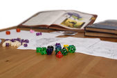 Role playing game set up on table isolated on white background — Stock Photo