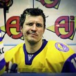 Ice-hockey player Artem Ostroushko of Ukraine — Stock Photo #79105436
