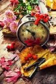 Old clock, autumn leaves, flowers and rowan berries — Stock Photo