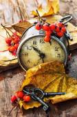 Old clock, yellow leaves and keys — Stock Photo