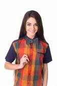 Girl with bow tie — Stock Photo