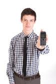 英俊的男人用的手机 — 图库照片