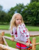 Little girl in ukrainian clothes on the hedge — Stock Photo