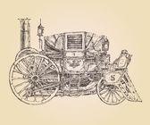 Carro semovente vapore punk (vecchia automobile) vintage incisa illustrazione, disegnato a mano — Vettoriale Stock