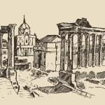 Sketch of Roman Forum — Stock Vector #72755519