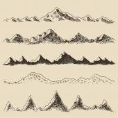 Hand drawn contours of the mountains — Stock Vector