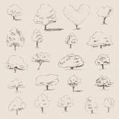 Trees sketch set — Stock Vector