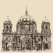 Hand drawn  Berlin Cathedral — Stock Vector