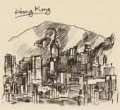 Sketch of Hong Kong city — ストックベクタ