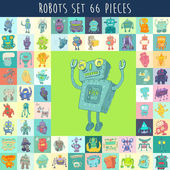 Set of cartoon robots — Stock Vector