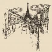 Hand drawn Streets in Paris — Stockvektor