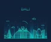 Bali skyline trendy vector illustration linear — Stock Vector