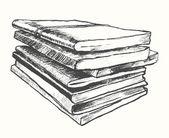 Kupie stary szkic sztuka wektor ciągnione książek — Wektor stockowy