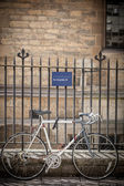 Bicycle Parked in front of building warning parking not allowed — Stock Photo